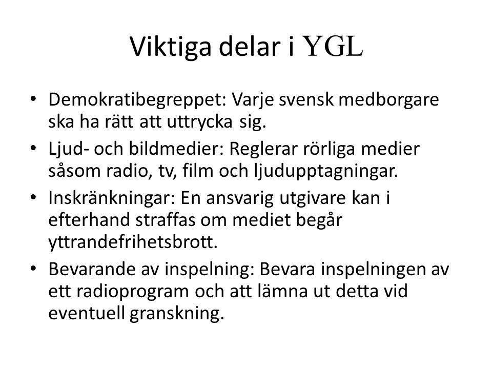Viktiga delar i YGL Demokratibegreppet: Varje svensk medborgare ska ha rätt att uttrycka sig.