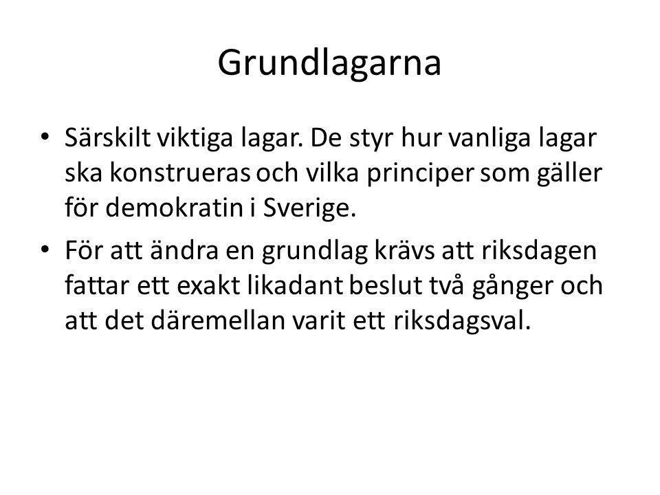 Grundlagarna Särskilt viktiga lagar. De styr hur vanliga lagar ska konstrueras och vilka principer som gäller för demokratin i Sverige.