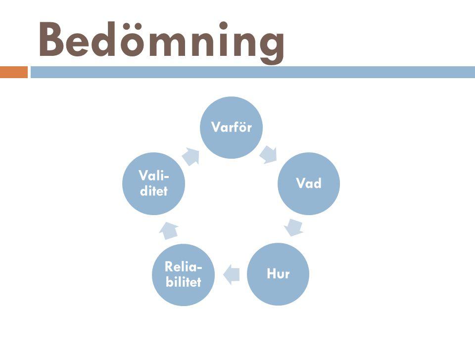 Bedömning Varför Vad Hur Relia-bilitet Vali-ditet