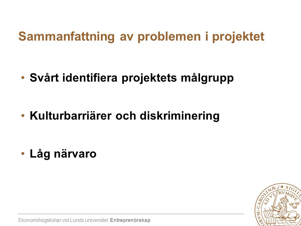 Sammanfattning av problemen i projektet