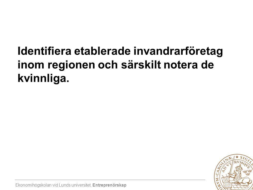 Identifiera etablerade invandrarföretag inom regionen och särskilt notera de kvinnliga.