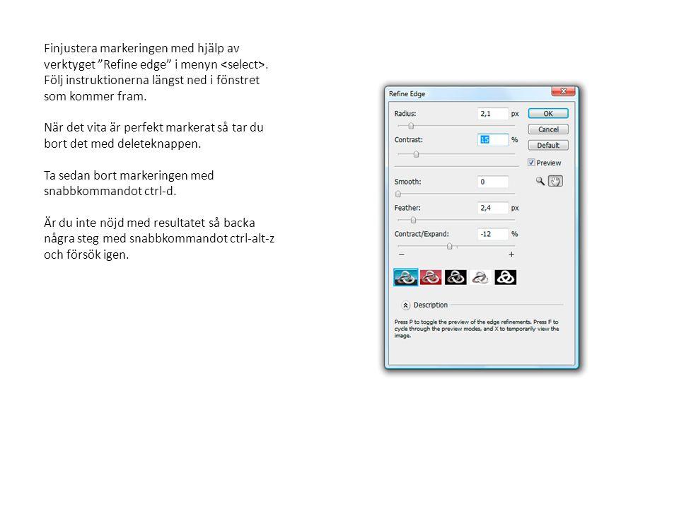Finjustera markeringen med hjälp av verktyget Refine edge i menyn <select>. Följ instruktionerna längst ned i fönstret som kommer fram.