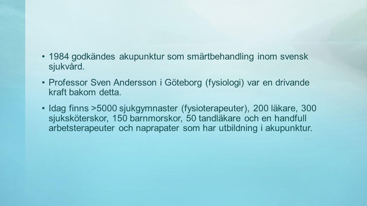 1984 godkändes akupunktur som smärtbehandling inom svensk sjukvård.