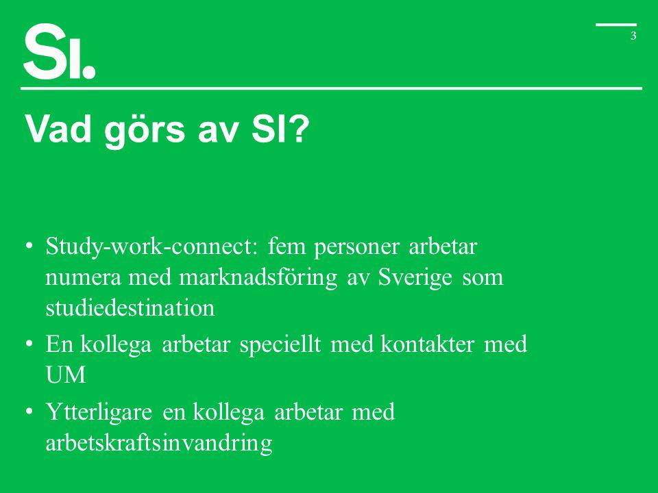 Vad görs av SI Study-work-connect: fem personer arbetar numera med marknadsföring av Sverige som studiedestination.