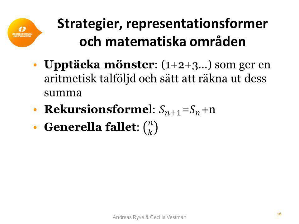Strategier, representationsformer och matematiska områden