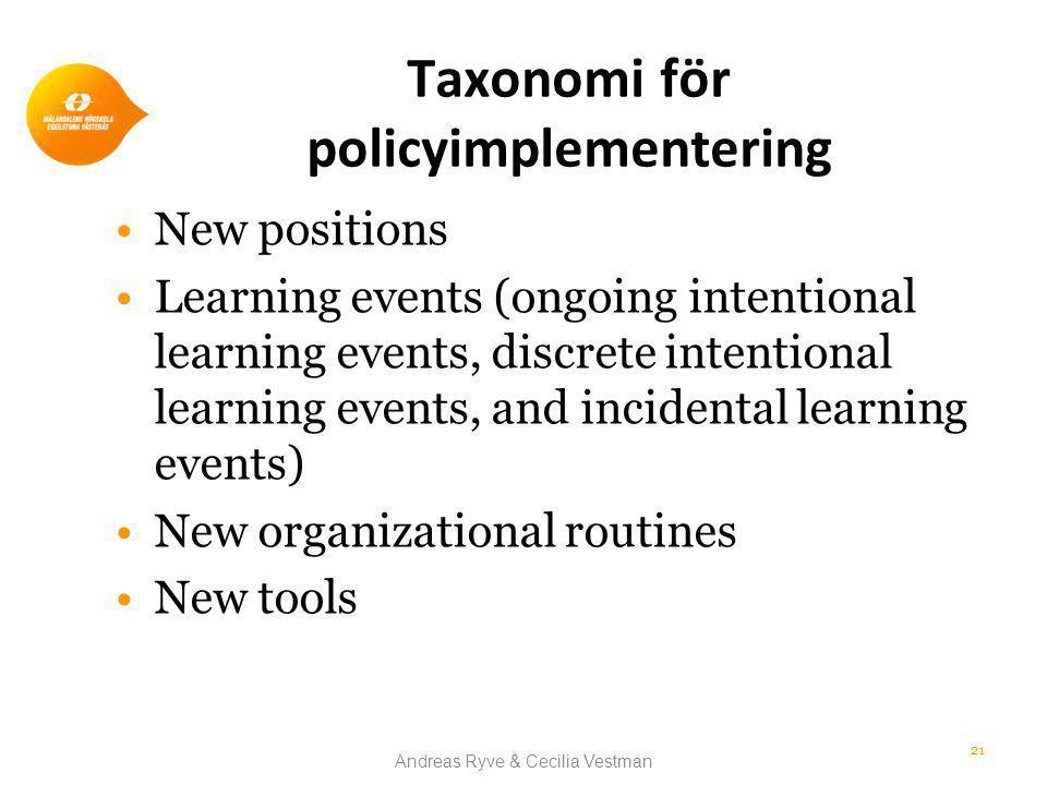 Taxonomi för policyimplementering