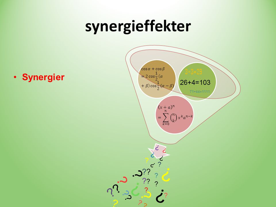 synergieffekter Synergier 3+3=29 26+4=103