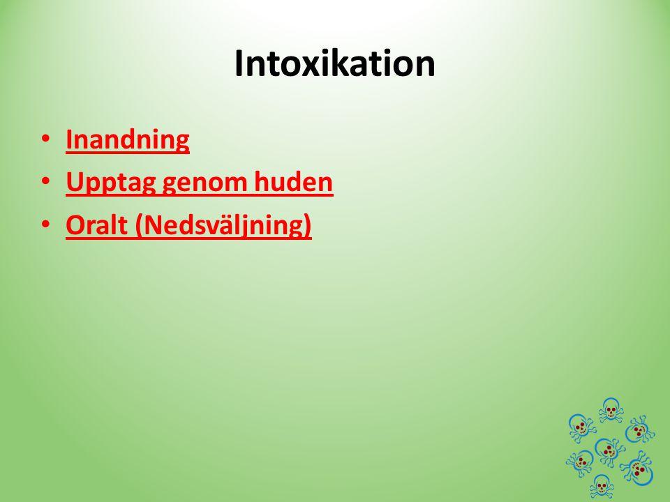 Intoxikation Inandning Upptag genom huden Oralt (Nedsväljning)