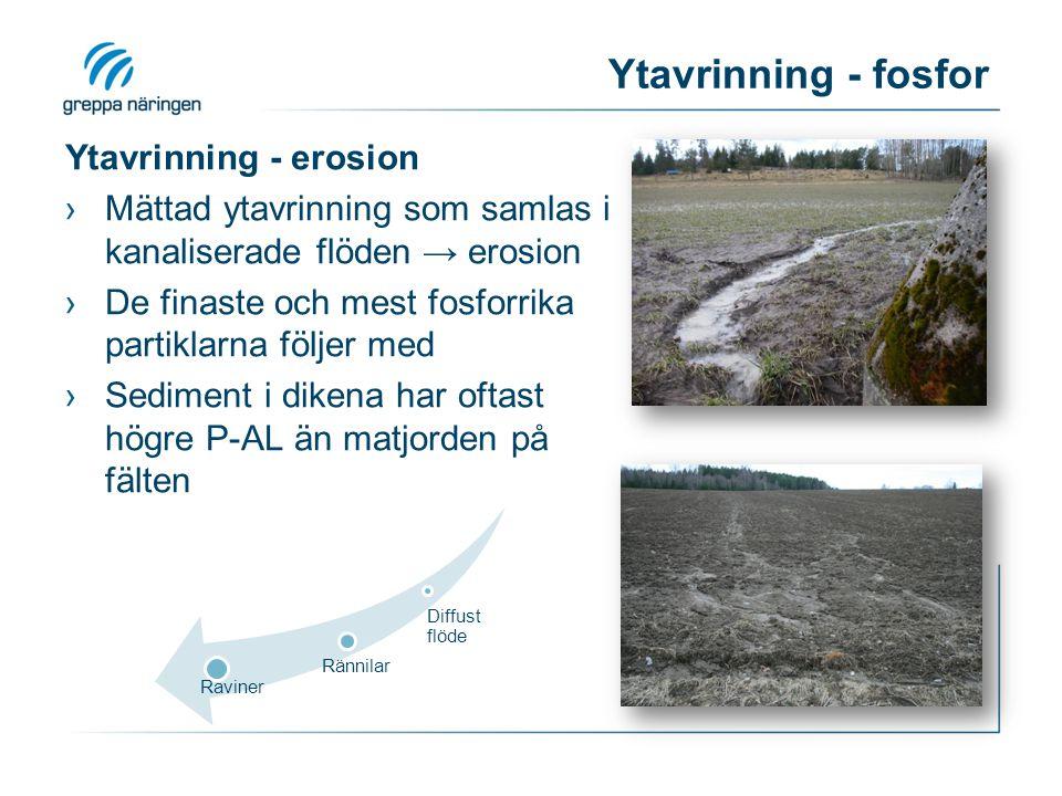 Ytavrinning - fosfor Ytavrinning - erosion
