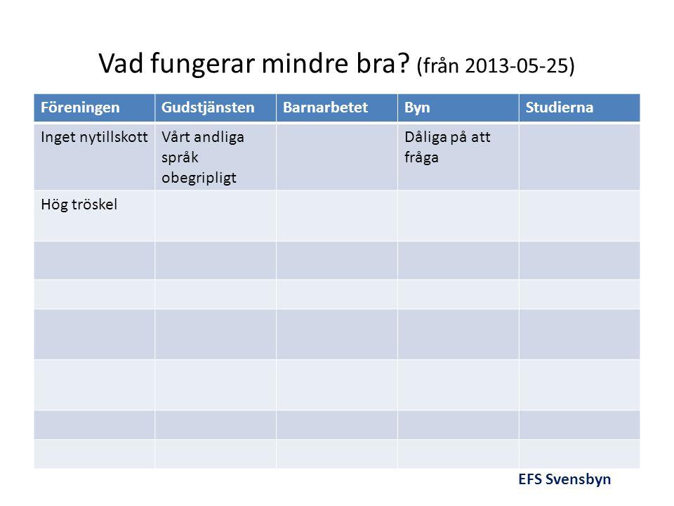 Vad fungerar mindre bra (från 2013-05-25)