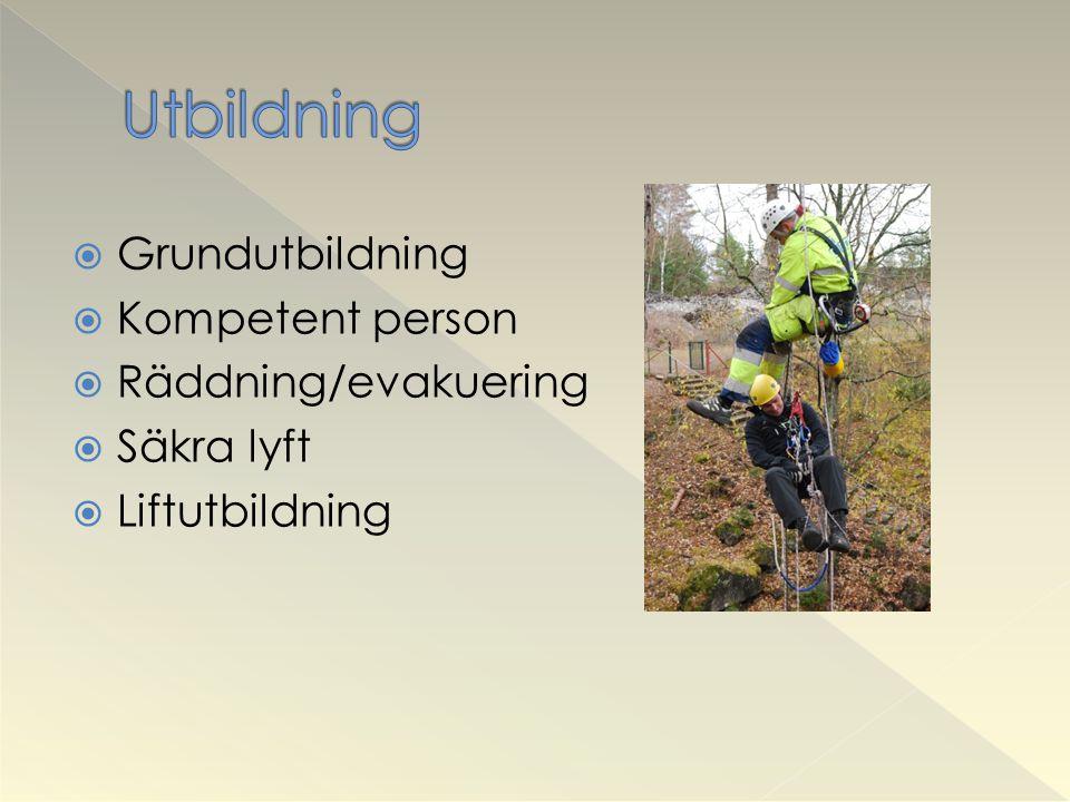 Utbildning Grundutbildning Kompetent person Räddning/evakuering