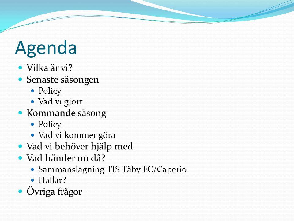 Agenda Vilka är vi Senaste säsongen Kommande säsong