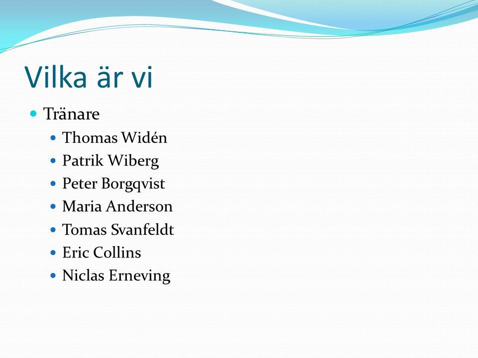 Vilka är vi Tränare Thomas Widén Patrik Wiberg Peter Borgqvist