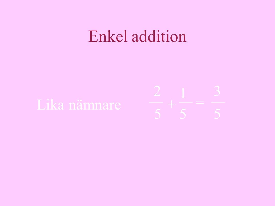 Enkel addition = Lika nämnare