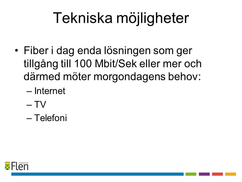 Tekniska möjligheter Fiber i dag enda lösningen som ger tillgång till 100 Mbit/Sek eller mer och därmed möter morgondagens behov: