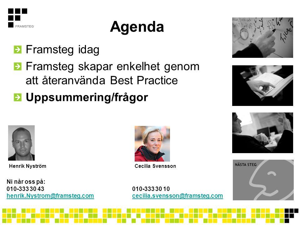 Agenda Framsteg idag. Framsteg skapar enkelhet genom att återanvända Best Practice. Uppsummering/frågor.