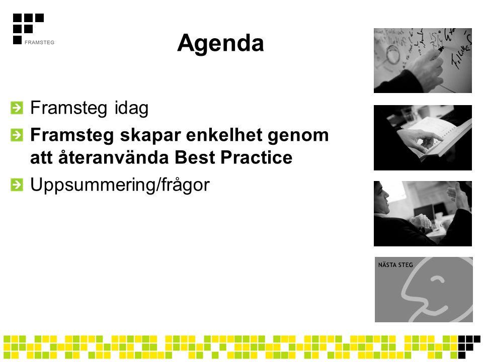 Agenda Framsteg idag. Framsteg skapar enkelhet genom att återanvända Best Practice.