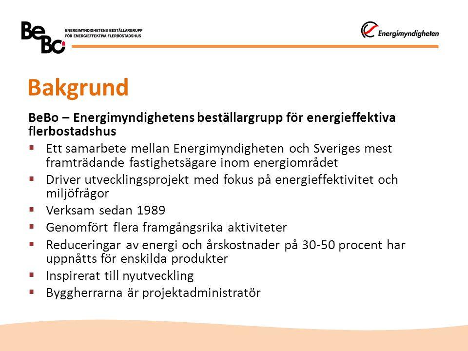 Bakgrund BeBo – Energimyndighetens beställargrupp för energieffektiva flerbostadshus.