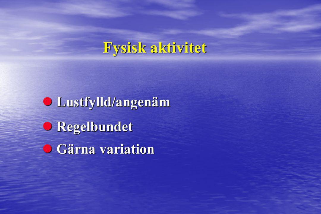 Fysisk aktivitet Lustfylld/angenäm Regelbundet Gärna variation