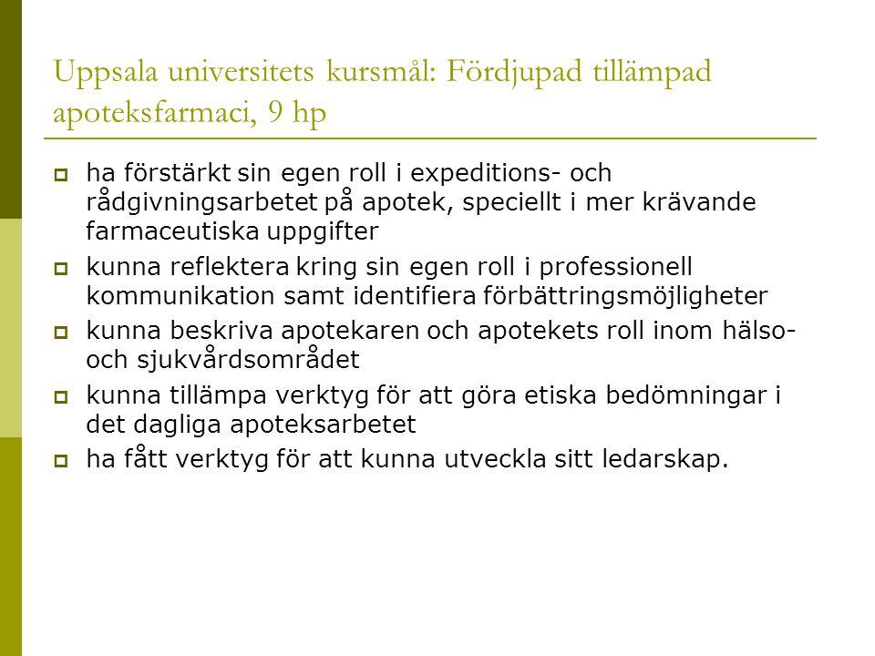 Uppsala universitets kursmål: Fördjupad tillämpad apoteksfarmaci, 9 hp