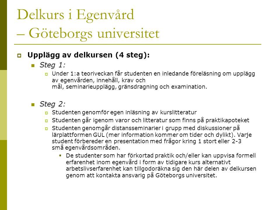 Delkurs i Egenvård – Göteborgs universitet