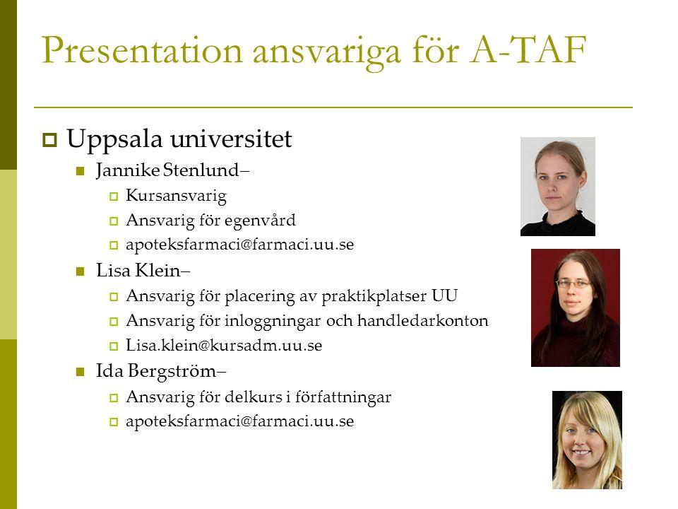 Presentation ansvariga för A-TAF