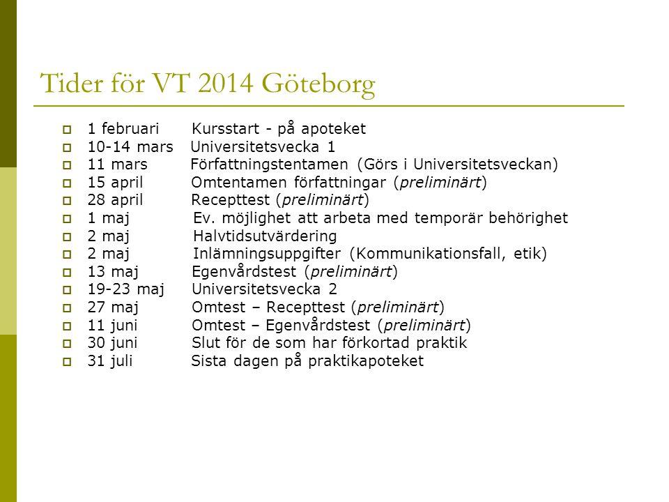 Tider för VT 2014 Göteborg 1 februari Kursstart - på apoteket