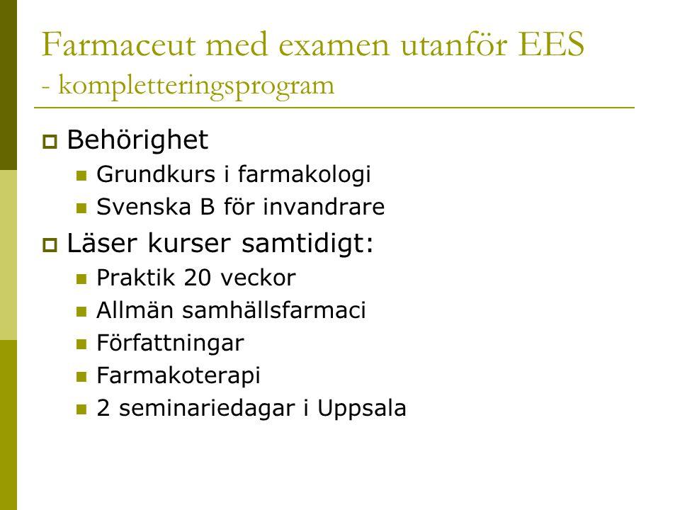 Farmaceut med examen utanför EES - kompletteringsprogram