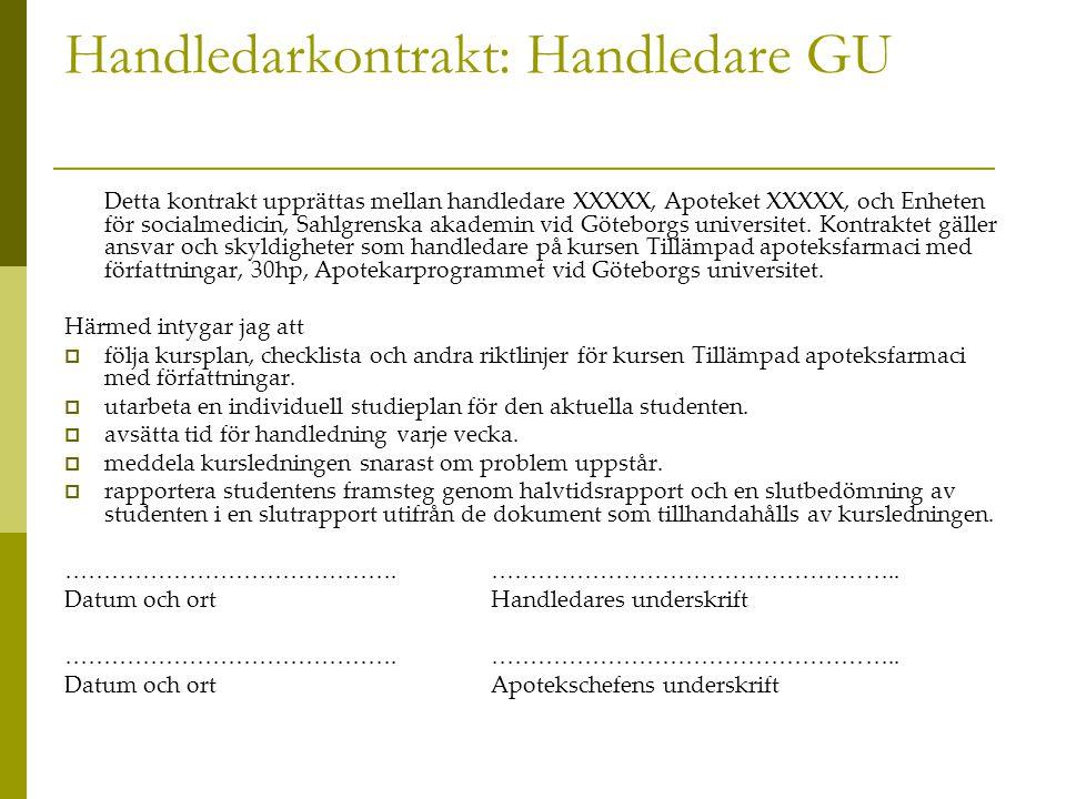 Handledarkontrakt: Handledare GU