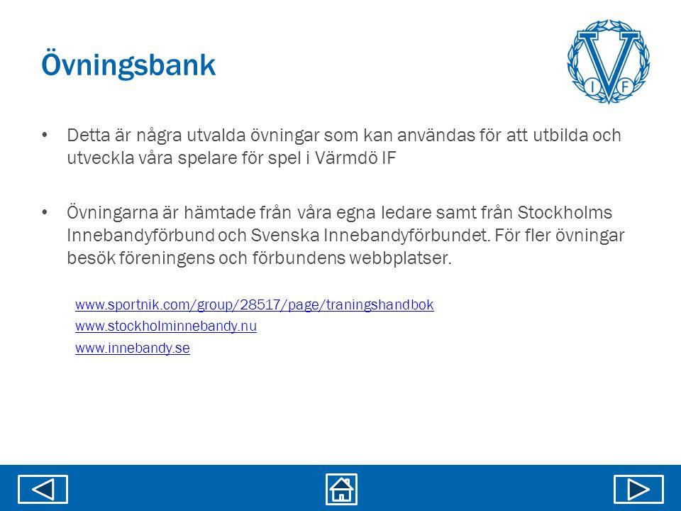 Övningsbank Detta är några utvalda övningar som kan användas för att utbilda och utveckla våra spelare för spel i Värmdö IF.