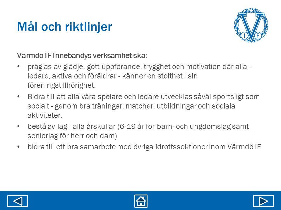 Mål och riktlinjer Värmdö IF Innebandys verksamhet ska: