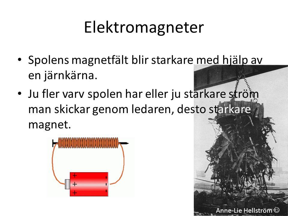 Elektromagneter Spolens magnetfält blir starkare med hjälp av en järnkärna.