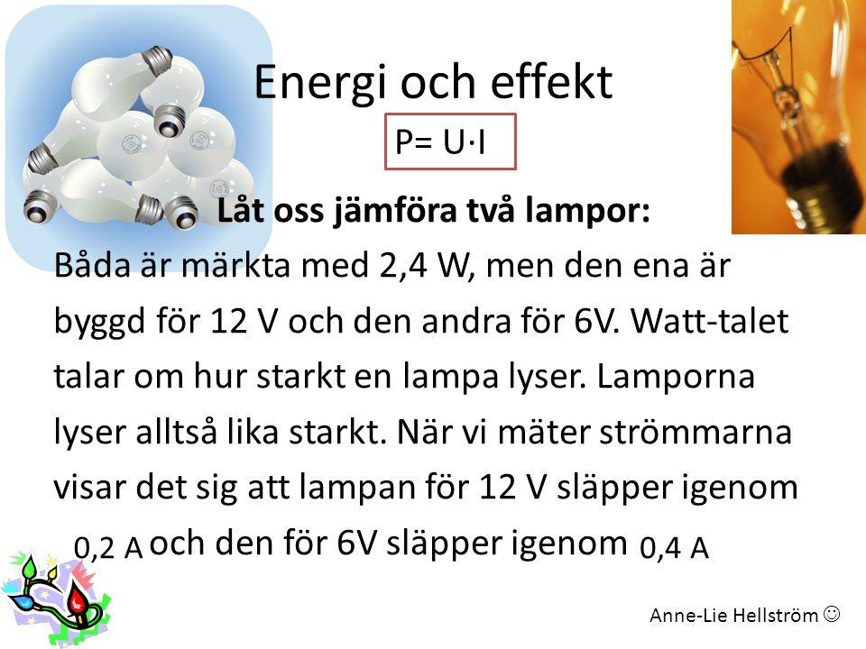 Energi och effekt P= U∙I