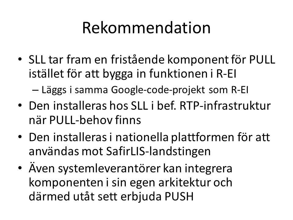 Rekommendation SLL tar fram en fristående komponent för PULL istället för att bygga in funktionen i R-EI.