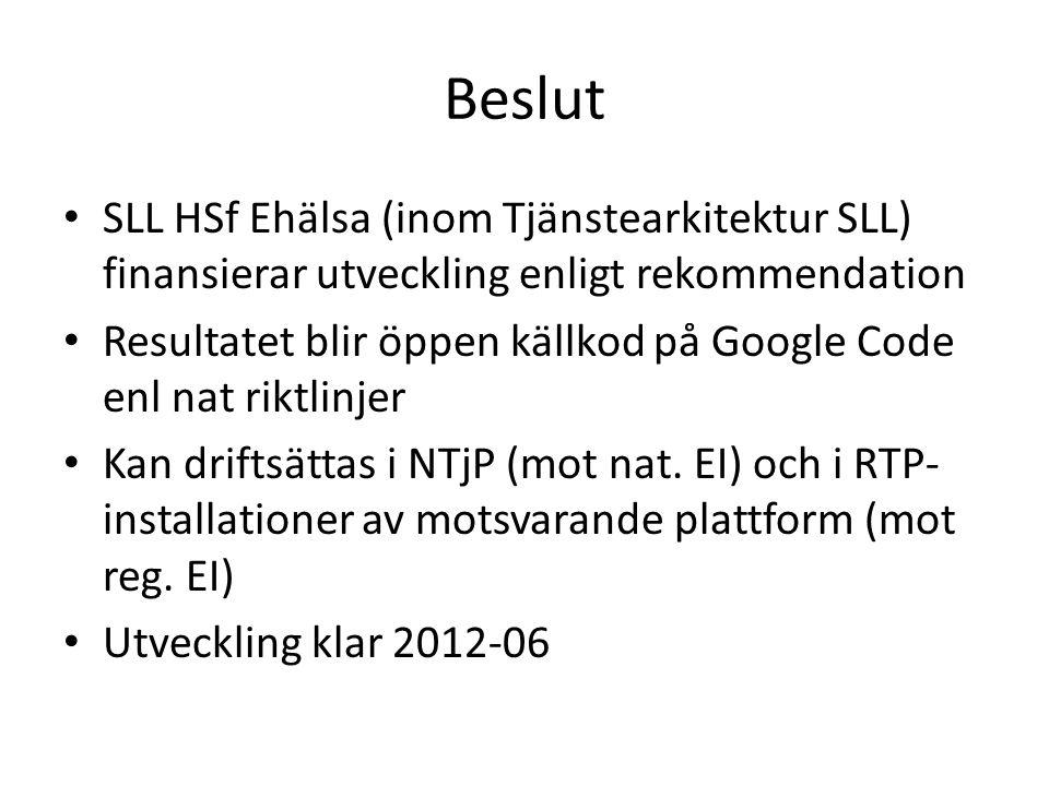 Beslut SLL HSf Ehälsa (inom Tjänstearkitektur SLL) finansierar utveckling enligt rekommendation.
