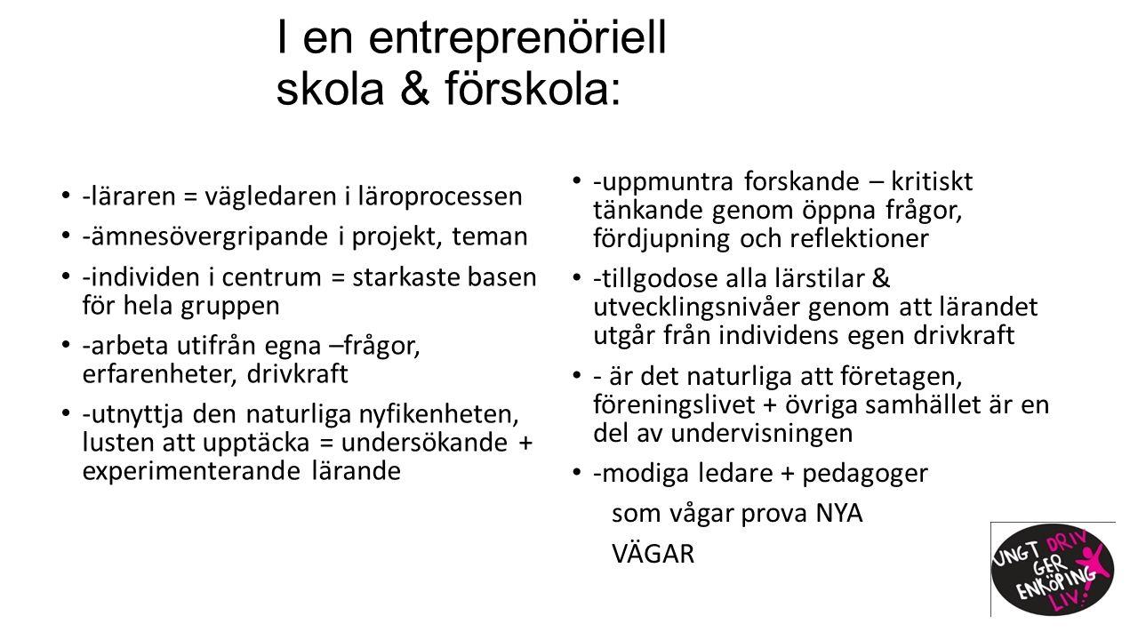 I en entreprenöriell skola & förskola: