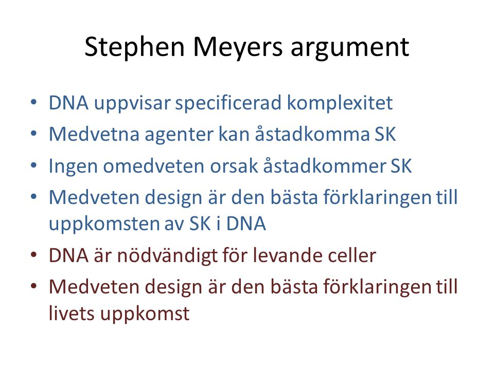 Stephen Meyers argument