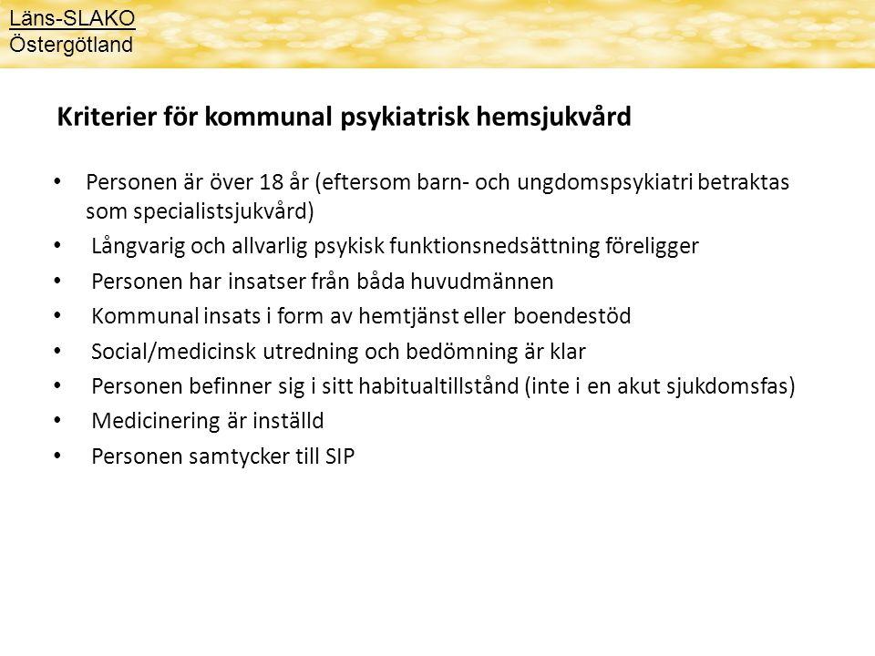 Kriterier för kommunal psykiatrisk hemsjukvård