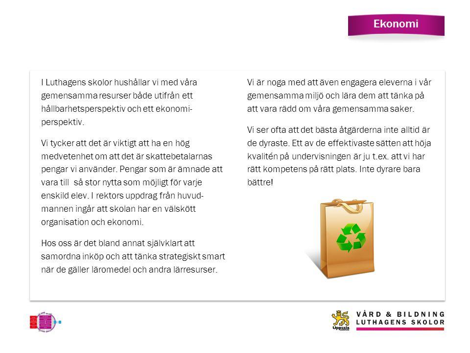 Ekonomi I Luthagens skolor hushållar vi med våra gemensamma resurser både utifrån ett hållbarhetsperspektiv och ett ekonomi- perspektiv.