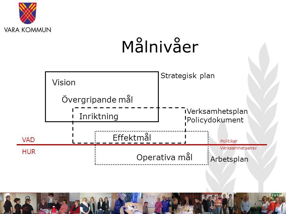 Målnivåer Vision Övergripande mål Inriktning Effektmål Operativa mål