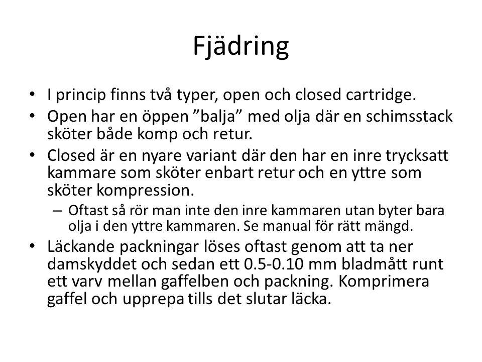 Fjädring I princip finns två typer, open och closed cartridge.