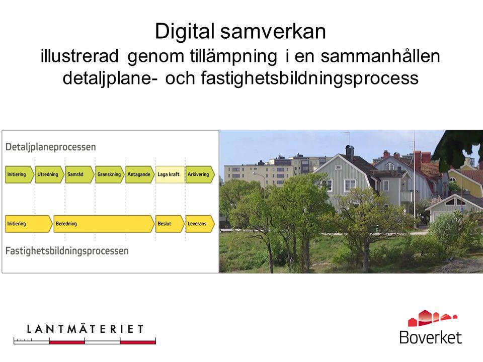 Digital samverkan illustrerad genom tillämpning i en sammanhållen detaljplane- och fastighetsbildningsprocess
