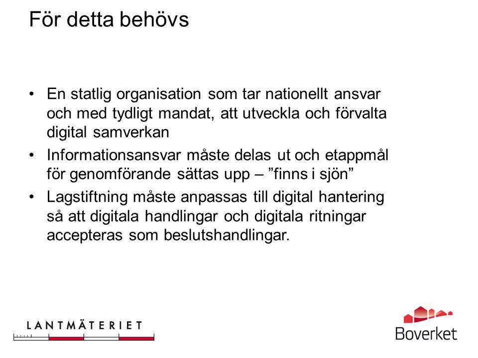 För detta behövs En statlig organisation som tar nationellt ansvar och med tydligt mandat, att utveckla och förvalta digital samverkan.
