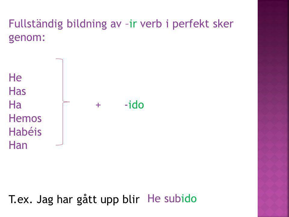 Fullständig bildning av –ir verb i perfekt sker genom: