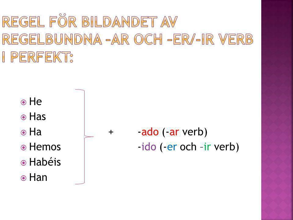 Regel för bildandet av regelbundna –ar och –er/-ir verb i perfekt: