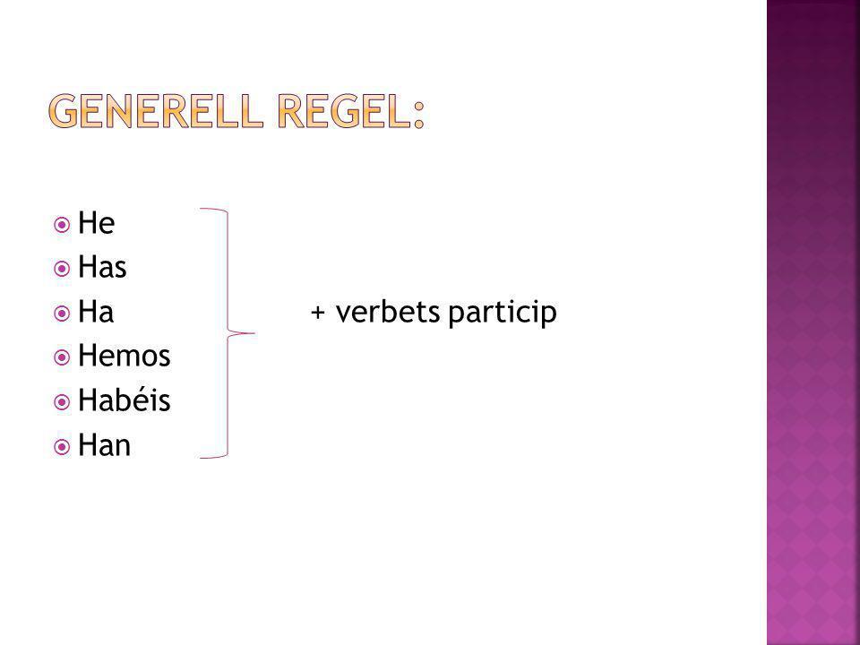 Generell regel: He Has Ha + verbets particip Hemos Habéis Han