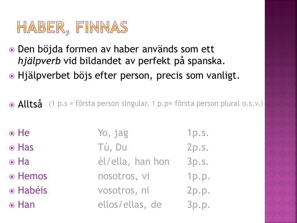 Haber, finnas Den böjda formen av haber används som ett hjälpverb vid bildandet av perfekt på spanska.