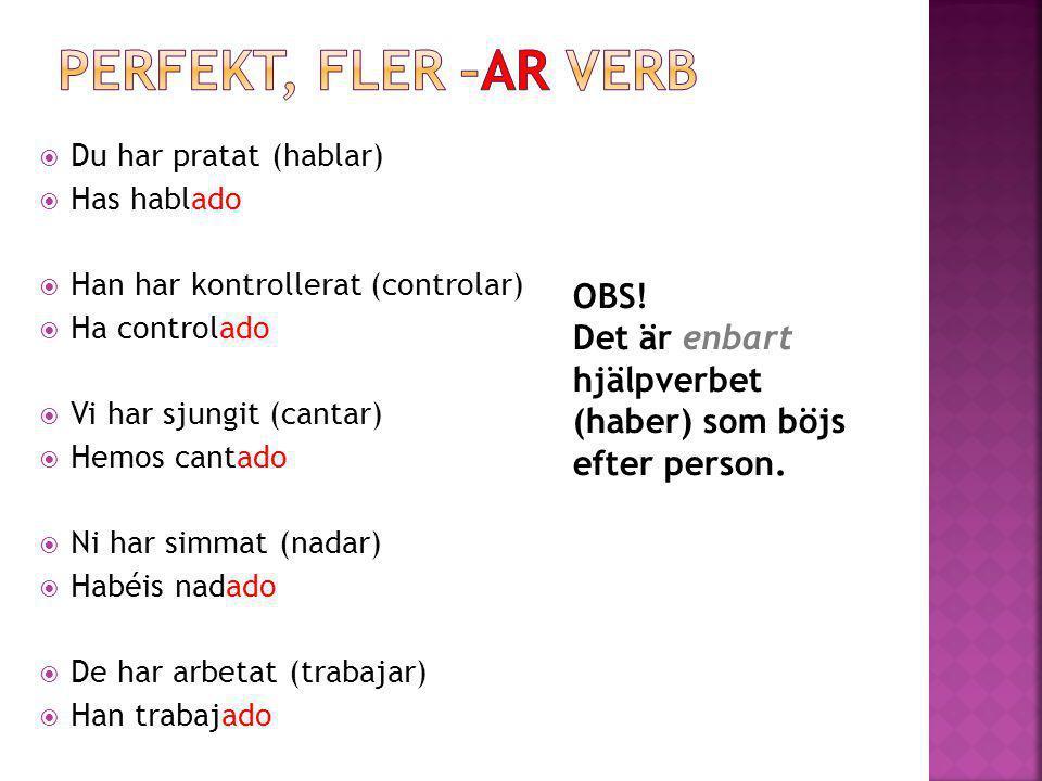 Perfekt, fler –ar verb OBS!