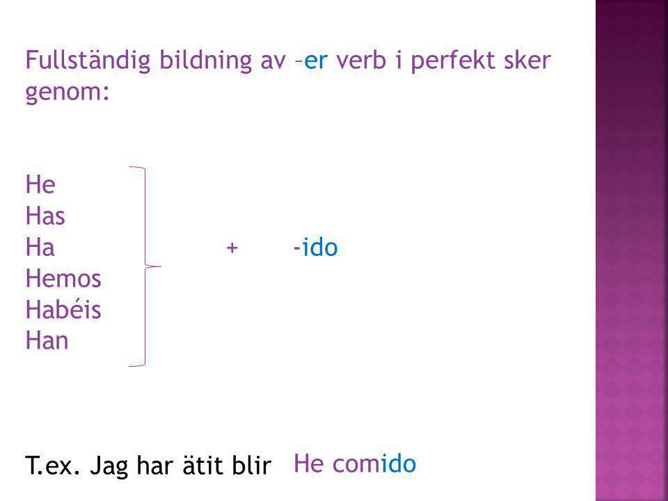 Fullständig bildning av –er verb i perfekt sker genom: