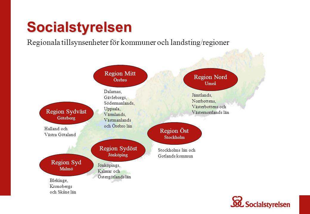 Socialstyrelsen Regionala tillsynsenheter för kommuner och landsting/regioner. Region Mitt Örebro.